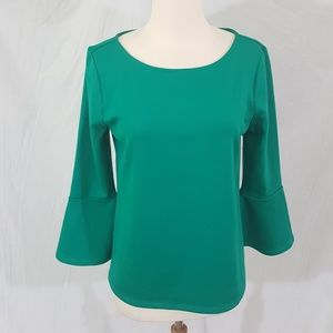 Ann Taylor Factory Flared Sleeve Green Top L
